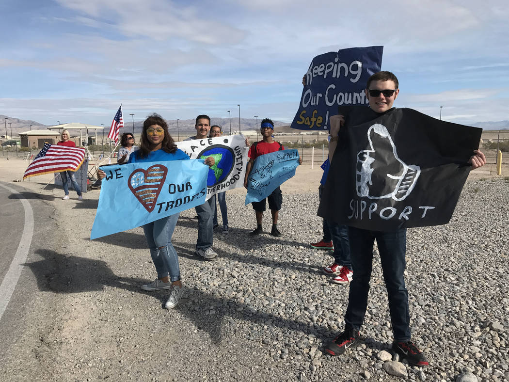 Keith Rogers/Las Vegas Review-Journal Students from Word of Life Christian Academy show their support for troops, Wednesday, April 26, 2017, at Creech Air Force Base, northwest of Las Vegas.