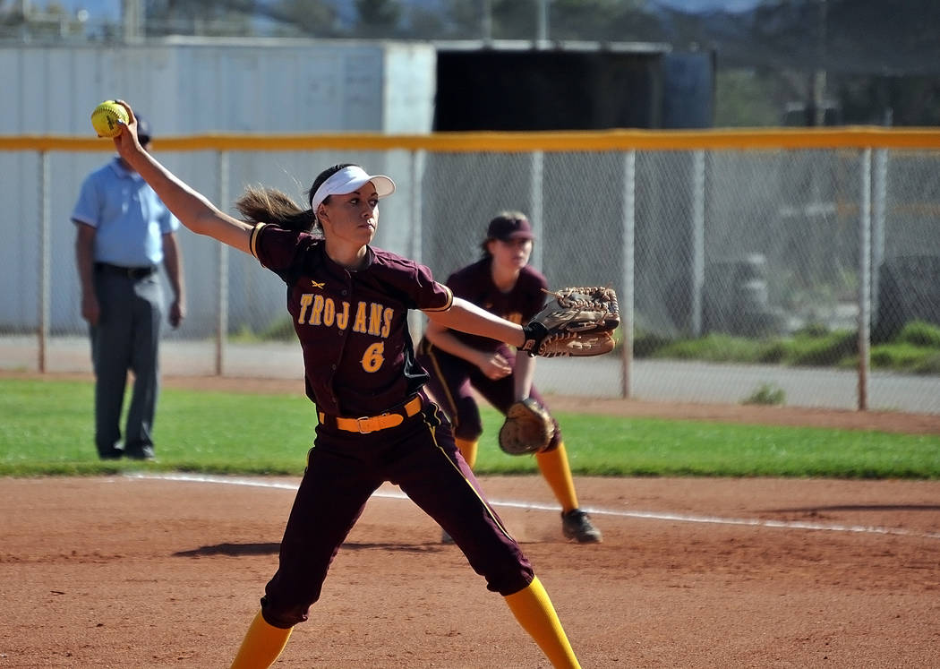 Horace Langford Jr./Pahrump Valley Times  Junior Amaya Mendoza is seen pitching against Durango last week on April 21. She was the winning pitcher and pitched all seven innings against Cheyenne. T ...