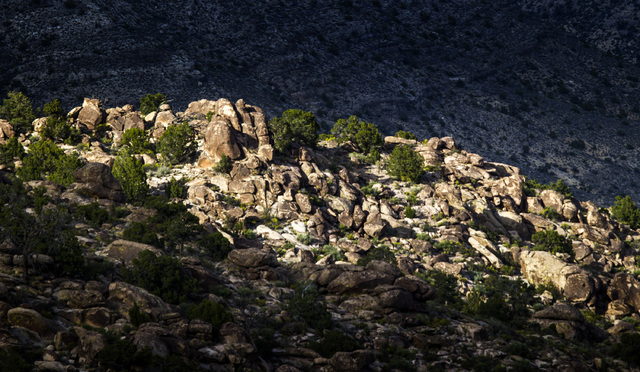 Jeff Scheid/Las Vegas Review-Journal Rock outcroppings are seen Wednesday, May 20, 2015, in the Mount Irish Archaeological District, located about 130 miles north of Las Vegas. President Donald Tr ...