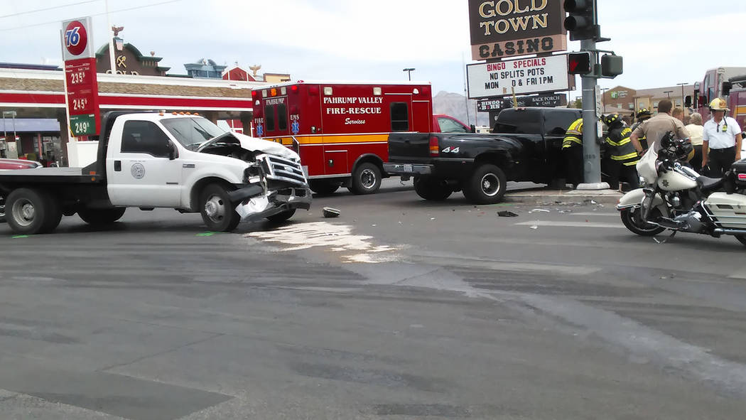 Selwyn Harris/Pahrump Valley Times  One person was transported to Desert View Hospital after a high-impact two-vehicle collision at Highways 160 and 372 on Wednesday. The crash remains under inves ...