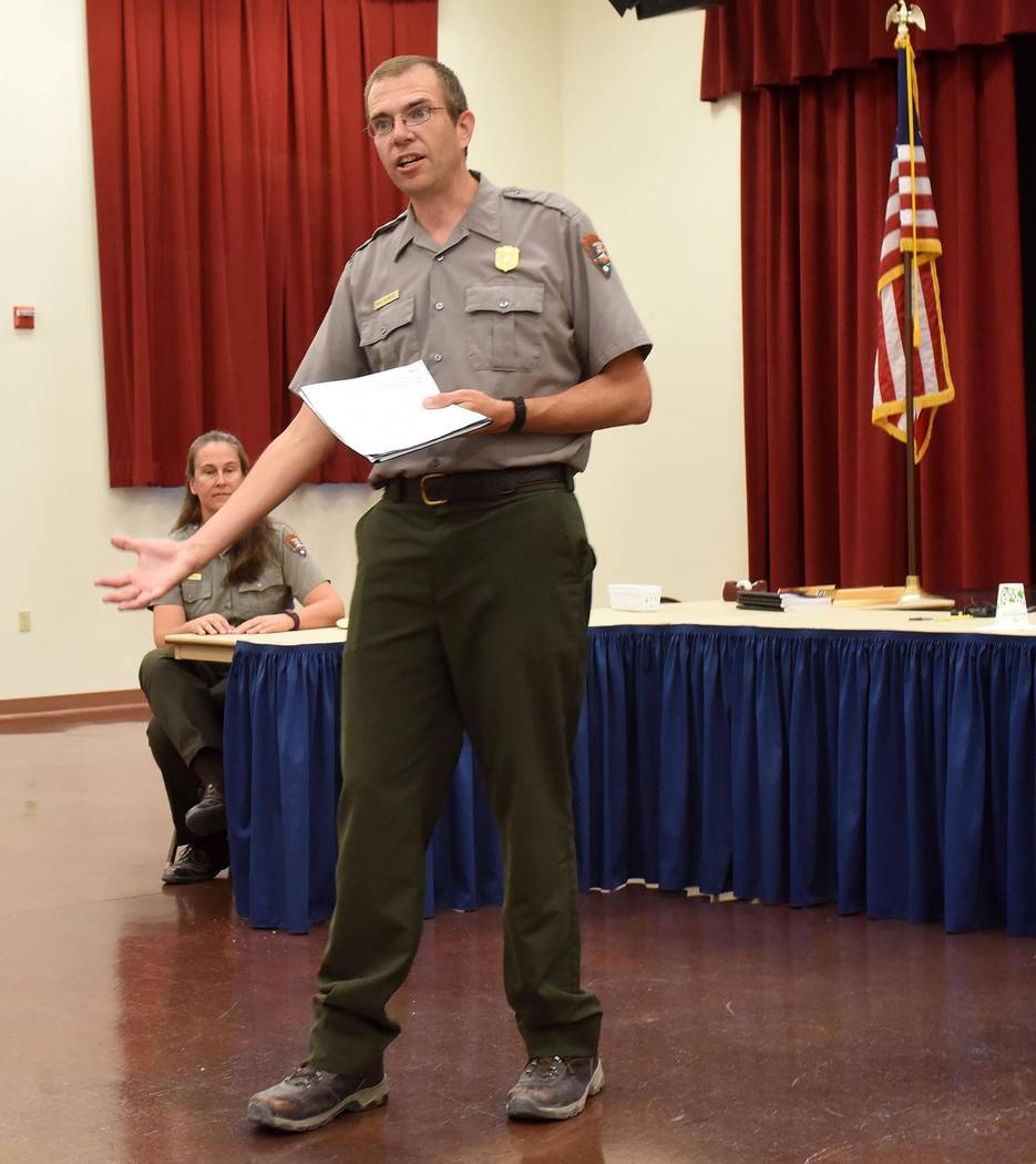 Richard Stephens/Special to the Pahrump Valley Times Death Valley Park Superintendent Mike Reynolds speaks to a crowd in Beatty on April 24. The massive flash flood of October 18, 2015, caused ext ...