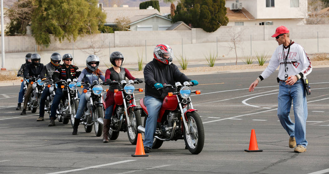 Instructor Patrick Soles, right, directs participants during a College of Southern Nevada Motorcycle Safety course at the CSN campus in Henderson, Sunday, Feb. 5, 2017. (Chitose Suzuki/Las Vegas R ...