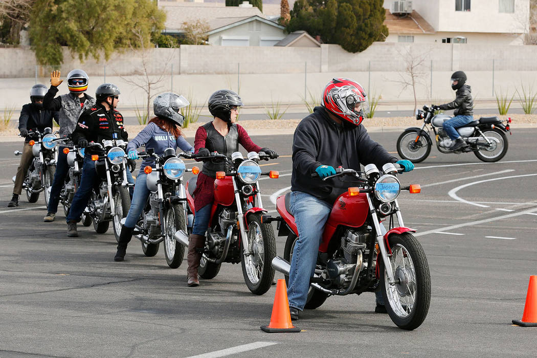 Motorcyclists participate in a College of Southern Nevada Motorcycle Safety course at the CSN campus in Henderson, Sunday, Feb. 5, 2017. (Chitose Suzuki/Las Vegas Review-Journal) @chitosephoto