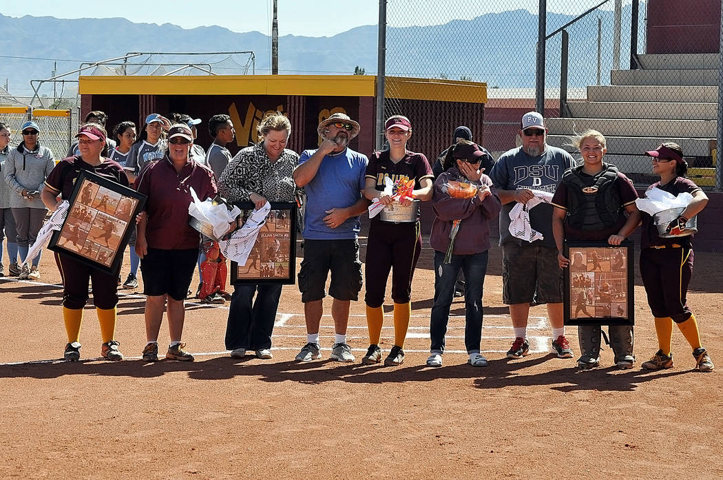 Horace Langford Jr./Pahrump Valley Times  There were  three seniors  honored during senior day last at Pahrump Valley High School before the Western game, from left to right: Krista toomer and Sus ...