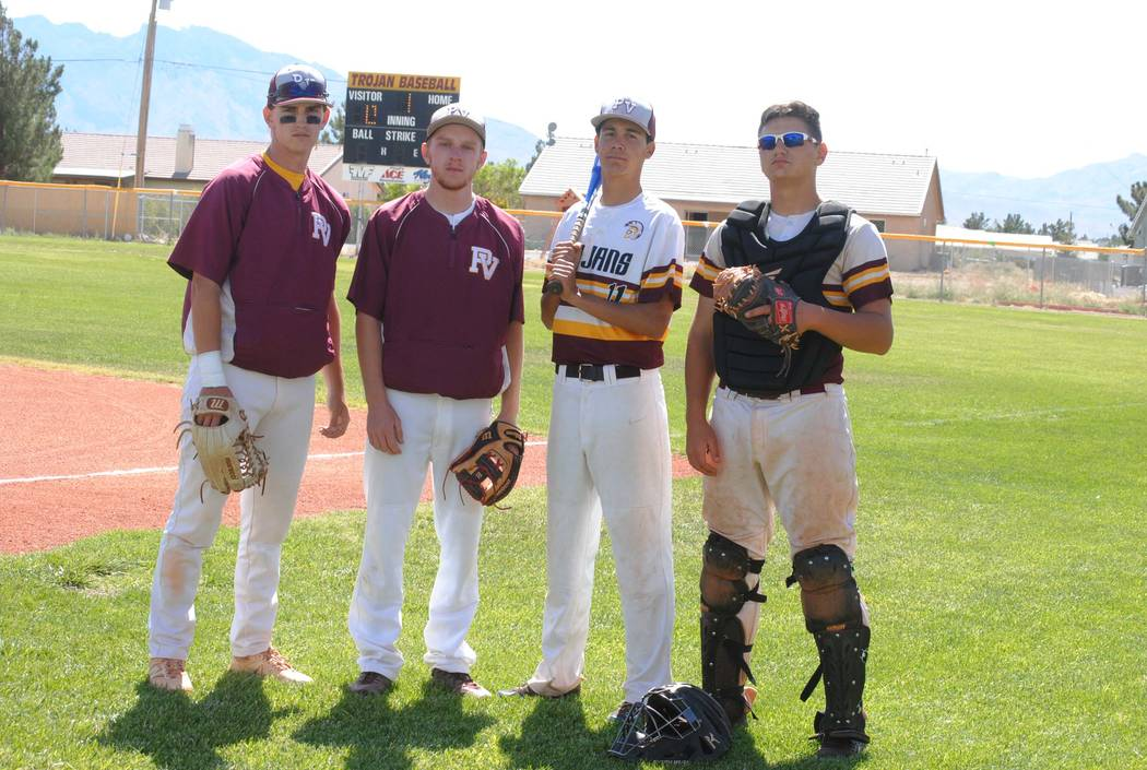 Charlotte Uyeno/Pahrump Valley Times Pahrump Valley honors four seniors on Senior Day, before the Western game. From left to right, Parker Hart, Drew Walker, Josh Ferrer and John MacDonald.