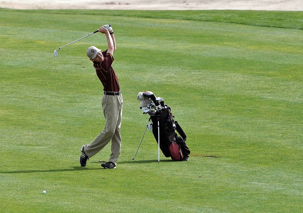 Horace Langford Jr. / Pahrump Valley Times Austen Ancell on the fairway at Mountain Falls earlier this season. On April 26 he shot his best score of his high school career, a 7-under-par 65 at Ali ...