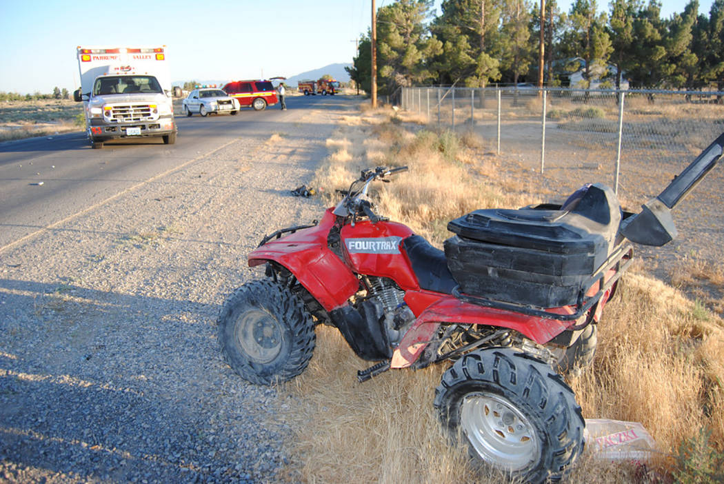 Special to Pahrump Valley Times  Fire crews were dispatched to the area of Barney and Shadow Mountain Streets for a quad versus van collision on Friday. The quad rider was flown to UMC trauma in L ...