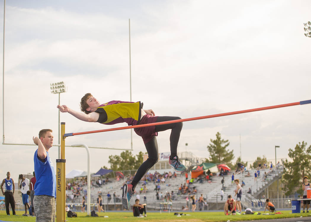 Skylar Stephens/Special to the Pahrump Valley Times Sophomore Trojans high jumper Chance Farnsworth clears 6 feet,0 inches and took third place at the invitational at Moapa Valley on Friday.