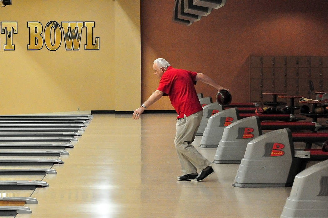 Horace Langford Jr./Pahrump Valley Times  Bowler Jim Reynolds seen bowling at the Pahrump Nugget Bowling Center.