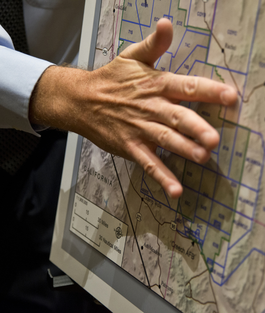Daniel Clark/Las Vegas Review-Journal  A map of the proposed expansion of the Nevada Test and Training Range is shown during a meeting with the public at the Aliante hotel-casino in North Las Vega ...