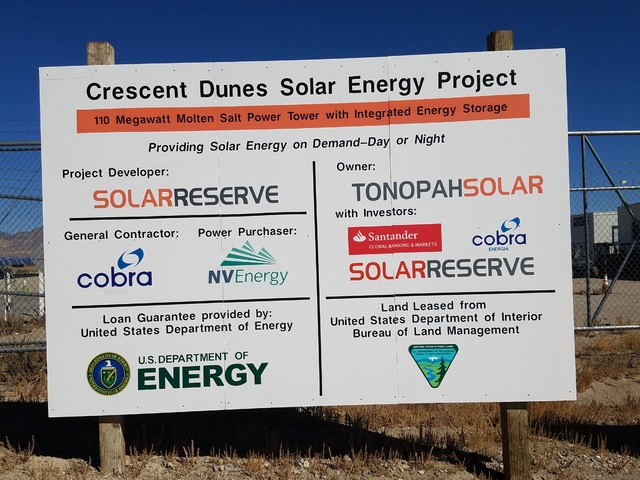 David Jacobs/Pahrump Valley Times The sign outside SolarReserve's Crescent Dunes solar plant outside Tonopah as shown in this Oct. 11 photo. The solar plant is described as a forerunner for the gr ...