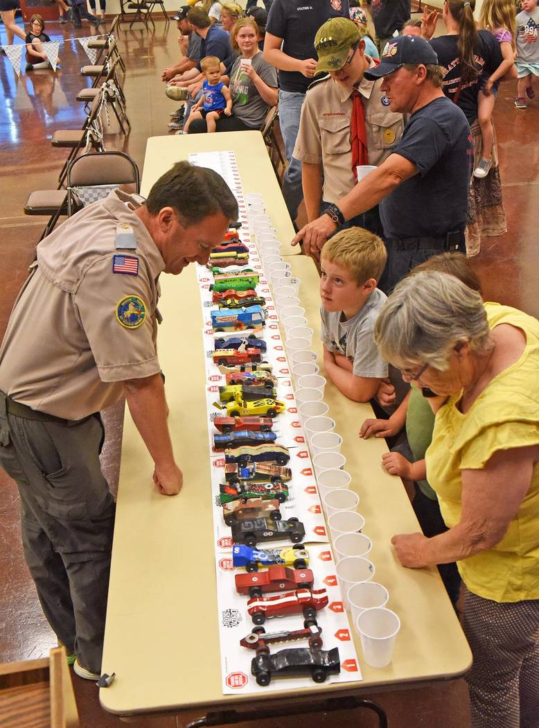 Richard Stephens/Special to the Pahrump Valley Times The Community Center in Beatty host to the Beatty Cub Scout Pinewood Derby on May 2.  Between Cub Scouts and adults, 37 cars were entered in th ...