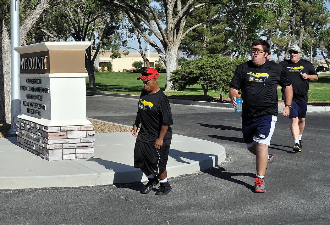 Horace Langford Jr./Pahrump Valley Times A personal best for Michael Turrin as he sets out with a strong pace (red hat) and finished the event for the first time without stopping.