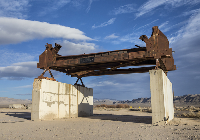 Benjamin Hager/Las Vegas Review-Journal The remains of a bridge built to measure the effects from the 1957 nuclear detonation test Priscilla at Frenchman Flat. Photo taken on Wednesday, Jan., 11,  ...