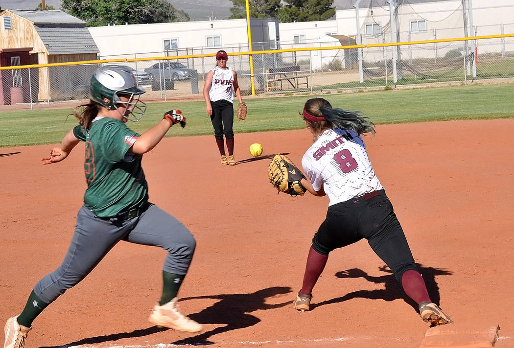 Horace Langford Jr./Pahrump Valley Times Jill Smith extends for the out at first base. A solid performance by Krista Toomer, Amaya Mendoza and the Trojans defense kept the Rattlers scoreless on May 4.