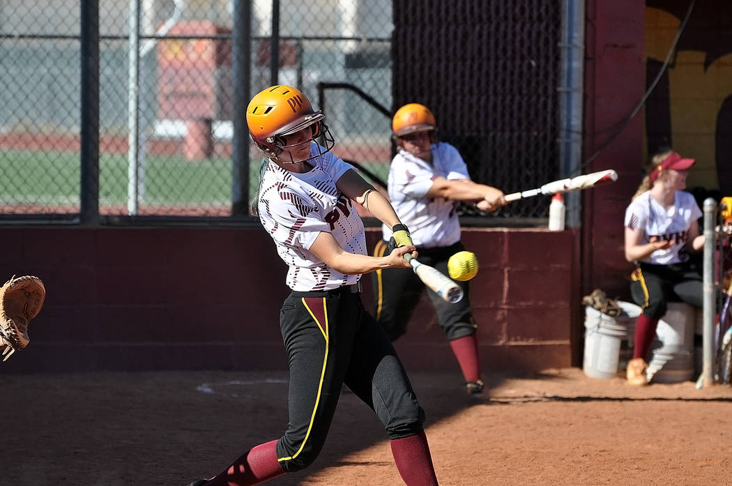Horace Langford Jr./Pahrump Valley Times  Jill Smith smacks her second home run of the season against Mojave last Thursday.