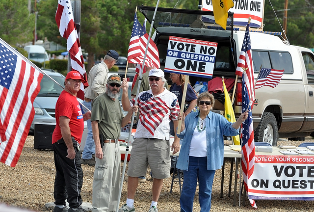 """Horace Langford Jr. / Pahrump Valley Times A """"Vote No on Question 1"""" rally was held in Pahrump on Oct. 8 at the corner of Highways 160 and 372. Although Nye County sheriff and district attorney ha ..."""