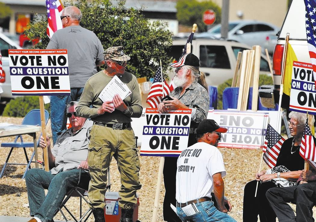 """Horace Langford Jr. / Pahrump Valley Times - PRO-SECOND AMENDMENT """"VOTE NO ON QUESTION 1"""" RALLY Saturday Hwy 160 at 372."""