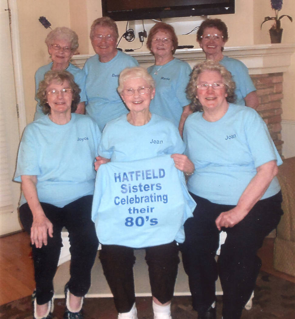 Special to Pahrump Valley Times Pahrump resident Betty Heil, second from left rear, is joined by her six sisters who are all in their 80s, held a recent family reunion in Branson, Missouri. The si ...