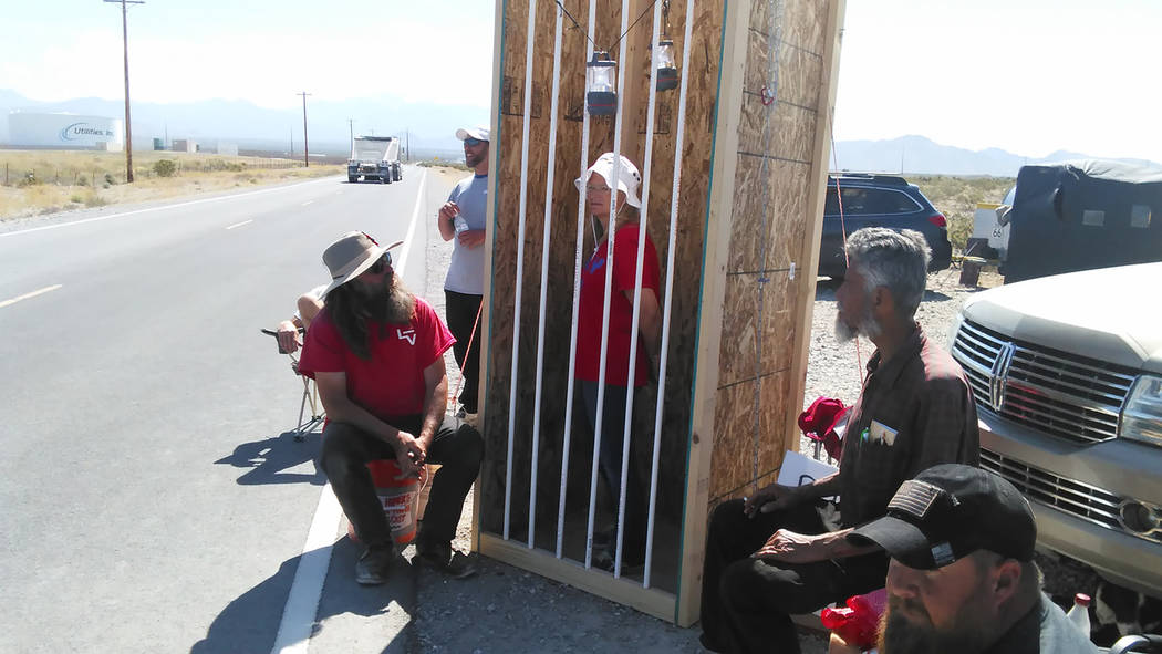 Selwyn Harris/Pahrump Valley Times  Supporters of inmates Ryan and Ammon Bundy built a mock jail cell across the street from the Nevada Southern Detention Facility on Mesquite Road. Roughly two-do ...