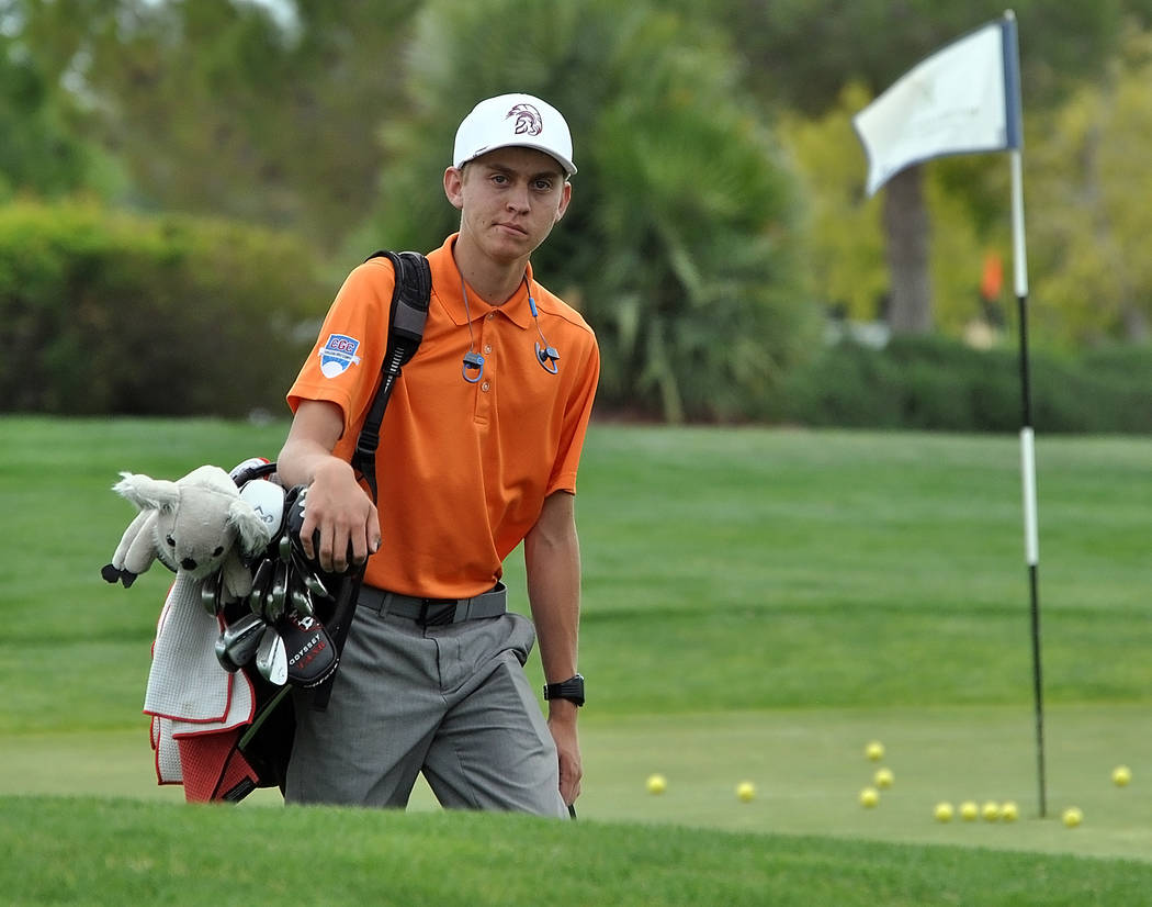 Horace Langford Jr./Pahrump Valley Times  Austen Ancell wins the individual Nevada Class 3A Southern Regional Tournament with a 2-under-par 71 at Boulder Creek in Boulder City on May 10. Story to  ...