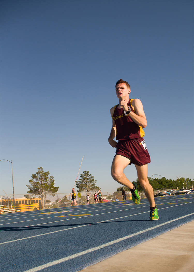 Skylar Stephens/Special to the Pahrump Valley Times  Bryce Odegard runs the 1,600-meter at the Class 3A Southern Regional meet at Moapa Valley on May 13.