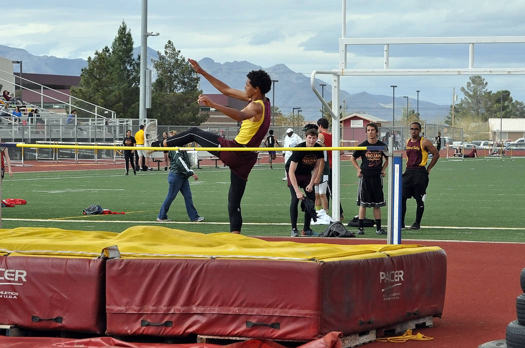 Horace Langford Jr./Pahrump Valley Times  Ethan Whittle gets over a lower height at a Pahrump track meet. At the regional meet he took third with a 5-foot, 10-inch jump at Moapa Valley, which help ...