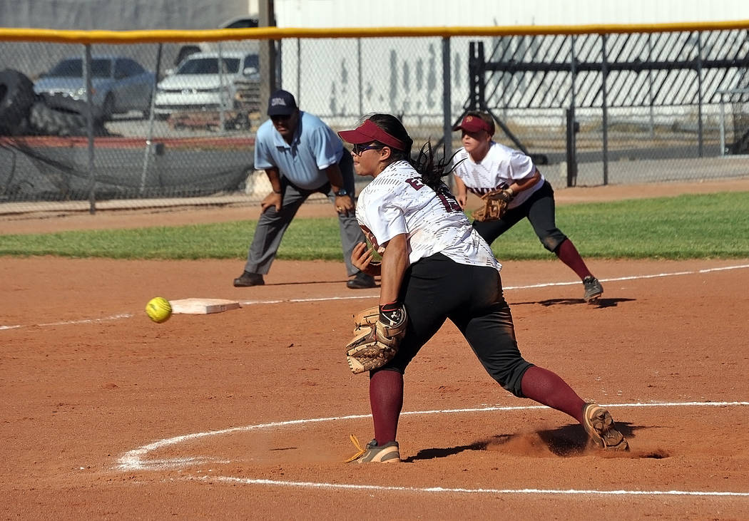 Horace Langford Jr./Pahrump Valley Times  Sophomore Taylor Egan pitches against Moapa. The Trojans will continue to change up their pitching against their opponents at the state tourney, which sta ...
