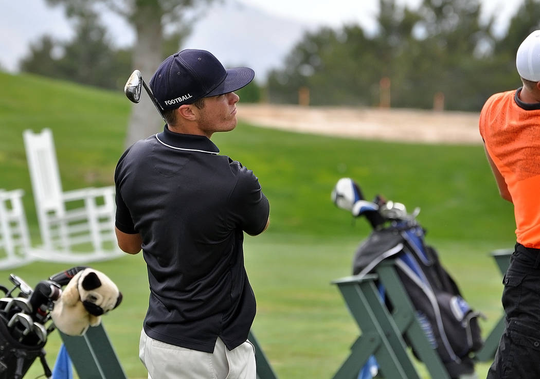 Horace Langford Jr./Pahrump Valley Times  Case Murphy practices for the regional tournament on May 9 at Mountain Falls Golf Course. The boys hoped to win their first state tournament.