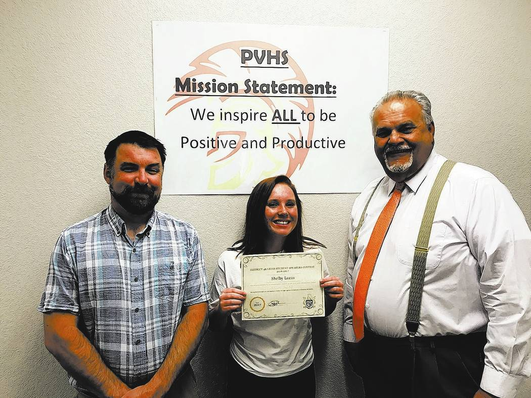 Special to the Pahrump Valley Times  Pahrump Valley High School sophomore Shelby Lucas, center, is joined by father, Michael Lucas, left, and Principal Chris Brockman. Lucas bested the competition ...