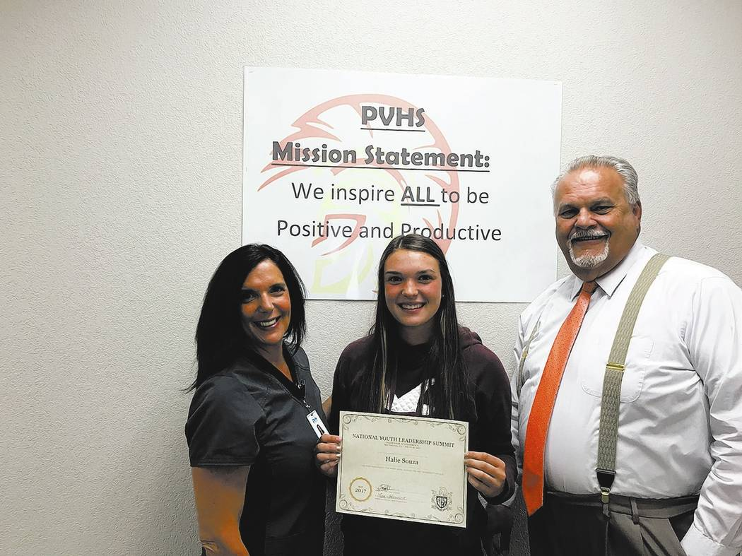 Special to the Pahrump Valley Times  Pahrump Valley High School sophomore Halie Souza, center, was chosen to attend the 2017 National Youth Leadership Summit this summer as part of the National Co ...