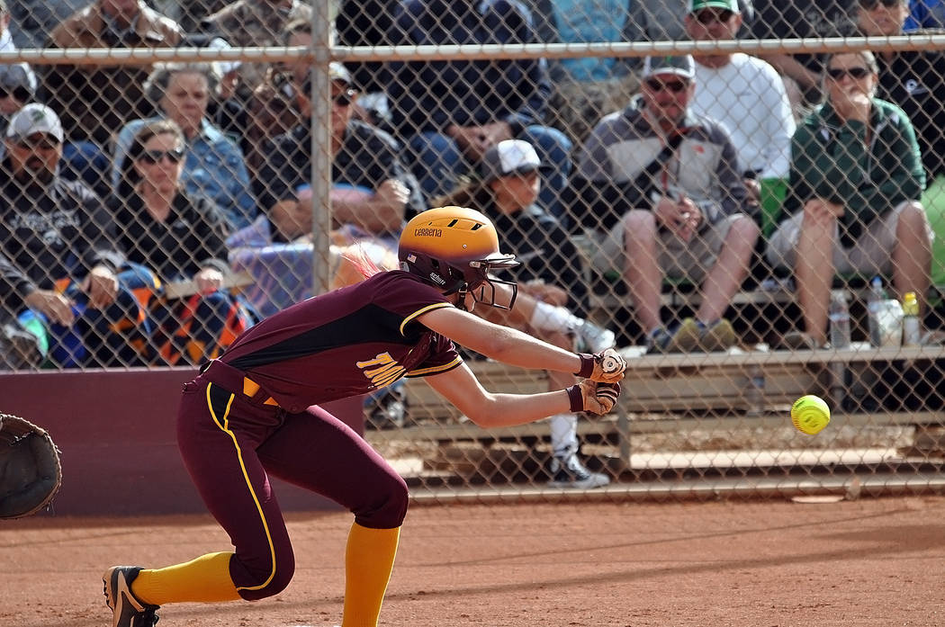 Horace Langford Jr./Pahrump Valley Times  Skyler Lauver lays down a bunt against Churchill County. Pahrump Valley tried everything to get people on base.