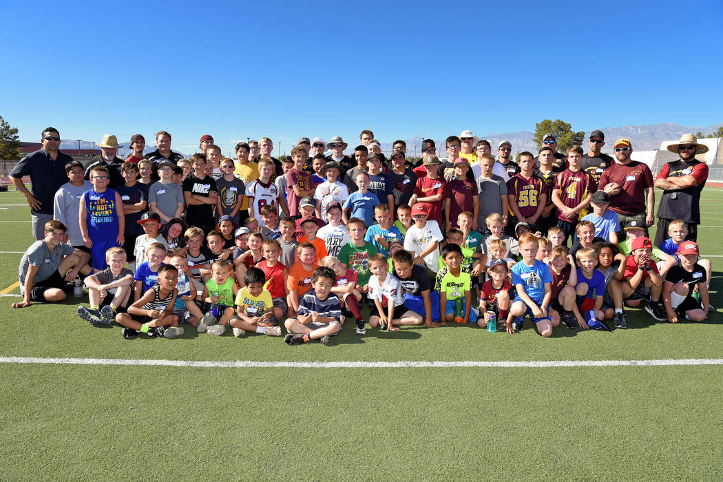 Peter Davis/Special to the Pahrump Valley Times  The second annual Junior Trojans Football camp was held over the weekend at the high school and taught kids the fundamentals of football.