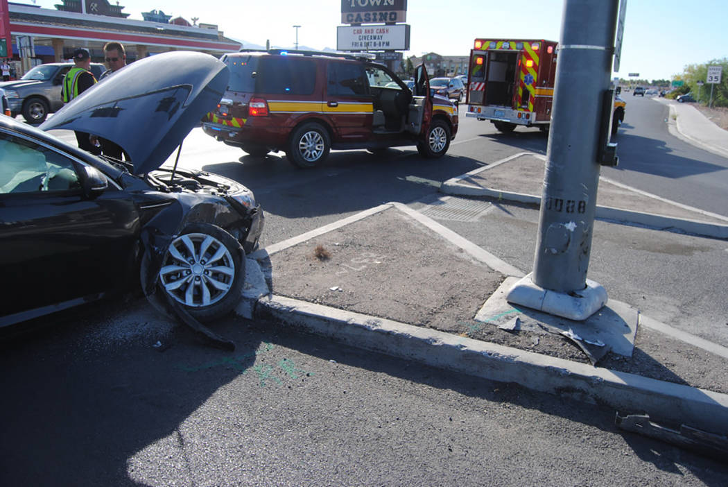 Special to the Pahrump Valley Times  One person was transported to Desert View Hospital following a collision with a traffic-light pole on Monday at Highway 372 and 160 just before 8 a.m. The car  ...