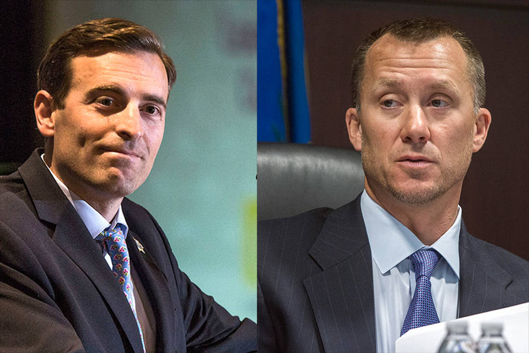 Las Vegas Review-Journal Nevada Attorney General Adam Laxalt and Gaming Control Board Chairman A.G. Burnett