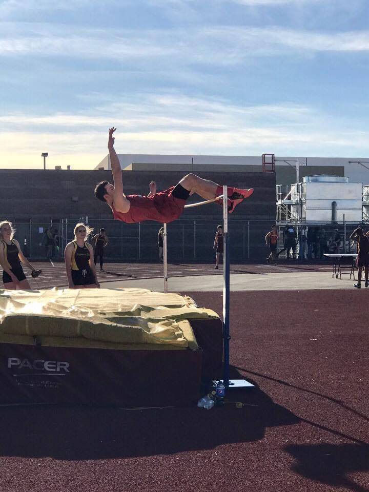 Special to the Times-Bonanza & Goldfield News Tyler Kirkland as shown in a file photo taken in Pahrump on March 29. On May 20, he cleared 6 feet at the Class 3A Nevada Track and Field Champion ...