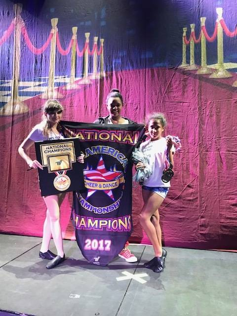 Special to the Pahrump Valley Times From left to right, Cassandra Dittrich, Kanaria Crisler and Angelina Rodriguez pose with their national championship at the dance and cheer nationals in April i ...