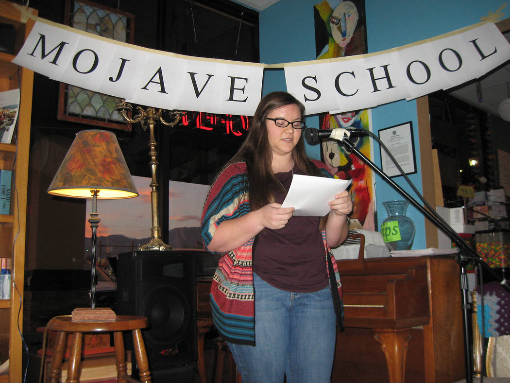 Photo provided to the Pahrump Valley Times An unidentified student is shown doing a reading after the first Mojave School workshop in 2013. The focus of the workshop, said Claire Vaye Watkins —  ...