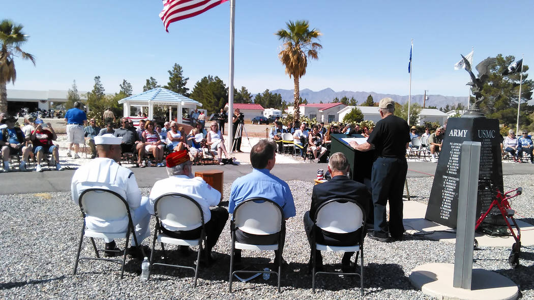 Selwyn Harris/Pahrump Valley Times  Marine Corps Maj. Roger Chaput delivers remarks to residents and fellow veterans during Monday's Memorial Day ceremony at G.G. Sweet Memorial Park. Chaput sai ...