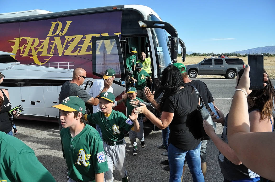 Horace Langford Jr./ Pahrump Valley Times The P-Town Little League Minors Division champs, the A's, arrive at the Little League closing ceremonies in style.