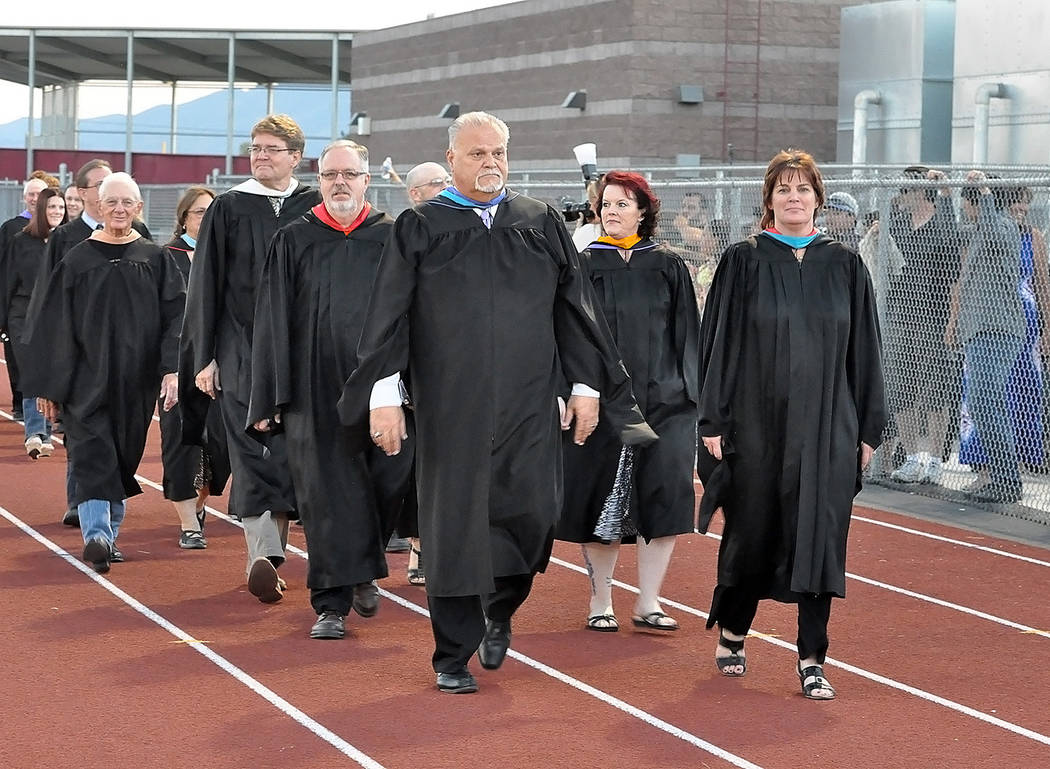 Horace Langford Jr./Pahrump Valley Times  Graduating commencement on May 26 for the Pahrump Valley High School Class of 2017, faculty procession led by Principal Chris Brickman.