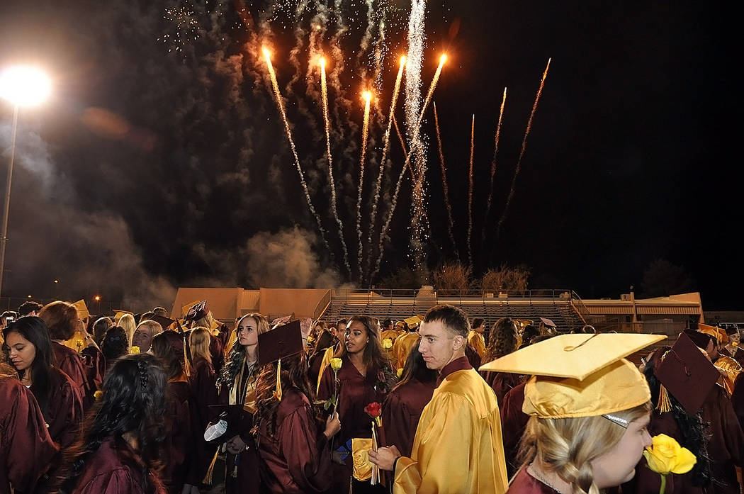 Horace Langford Jr./Pahrump Valley Times Fireworks at the end of the 2017 graduation ceremony at Pahrump Valley High School on May 26.