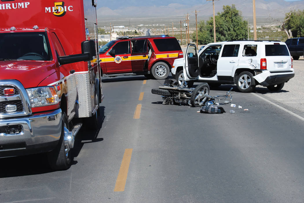 Special to the Pahrump Valley Times  One person was transported to UMC Trauma following a two-vehicle collision involving a motorcycle at East Mesquite Road and Chiquita Lane on Friday. That patie ...