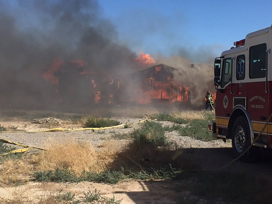 Special to the Pahrump Valley Times  Arson is suspected in a fire which destroyed multiple structures along West Galley Road on May 24. No injuries were reported. Nye County sheriff's detectives ...