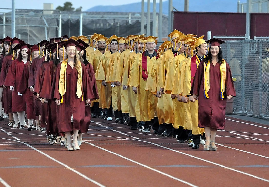 Horace Langford Jr./Pahrump Valley Times  The Pahrump Valley High School Class of 2017 makes its grand entrance on May 26.