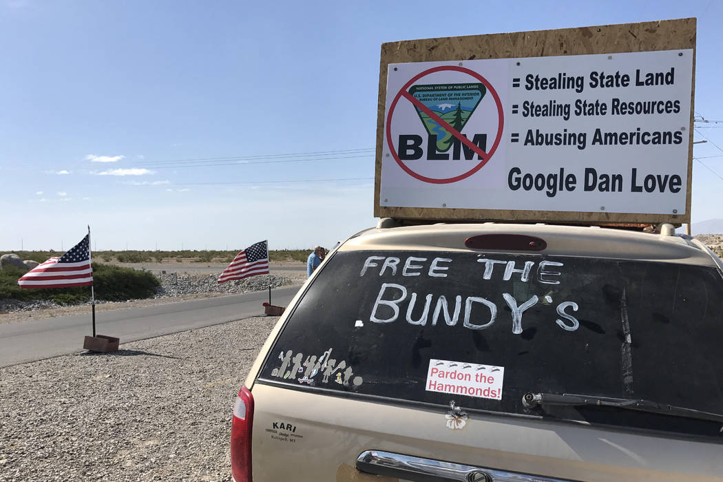 Blake Apgar/Las Vegas Review-Journal Bundy supporters have been protesting outside the Nevada Southern Detention Center in Pahrump for weeks. This photo in May shows the scene.