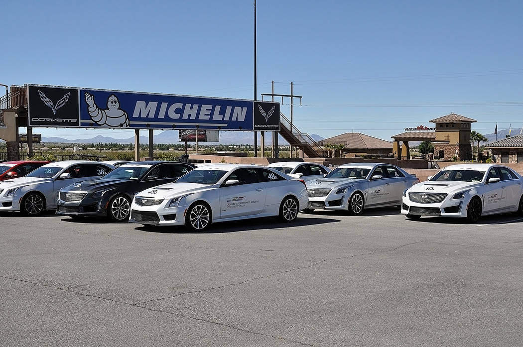 Horace Langford Jr./Pahrump Valley Times  Cadillac ATS-V coupes line the way at Spring Mountain Motor Resort and Country Club. The cars are part of driving school at the resort. The resort plans o ...