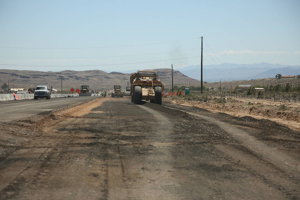 Special to the Pahrump Valley Times/Tony Illia, NDOT's spokesman, said the 5-mile widening project will provide better conditions for a commute between Las Vegas and Pahrump. The NDOT expanded the ...