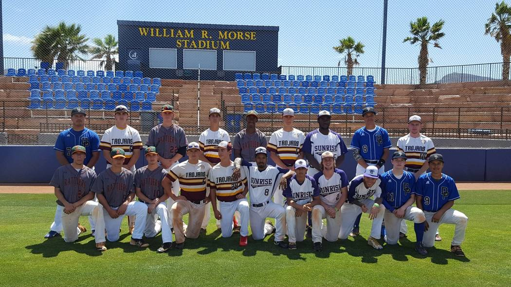 Special to the Pahrump Valley Times  The 2017 Class 3A Sunset League All-Star team which played in the Southern Nevada Baseball Coaches Association Hall of Fame game on May 30. The team was coache ...