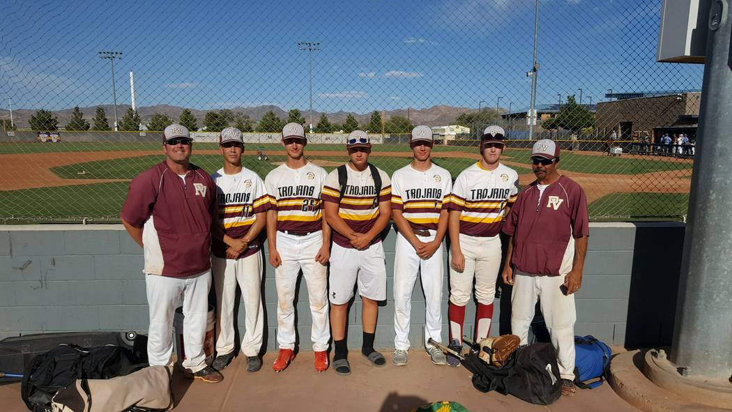 Special to the Pahrump Valley Times  Pahrump Valley varsity baseball all-stars with the coaches that went to the 2017 Southern Nevada Baseball Coaches Association Hall of Fame Class 3A Sunset leag ...